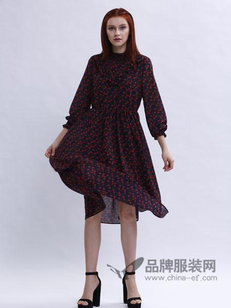 兰黛 赫本女装分袖收腰印花雪纺连衣裙