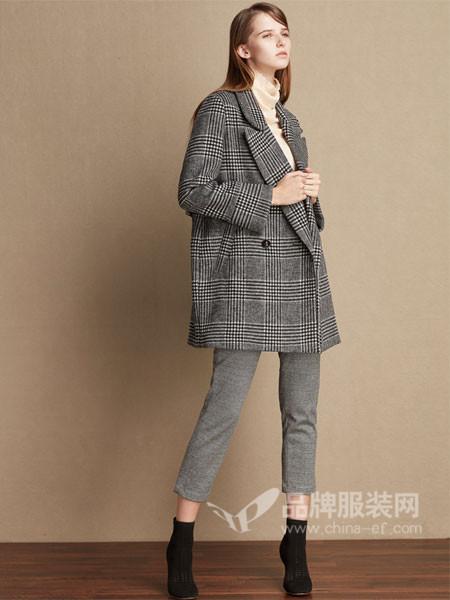KASD女装2017秋冬时尚复古格子大气西装领外套