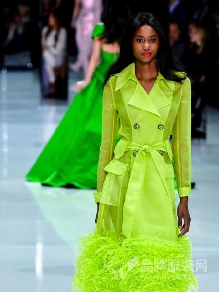 Ralph & Russo女装2018春夏领双排扣系带中长衬衣 糖果色风衣米苏拉