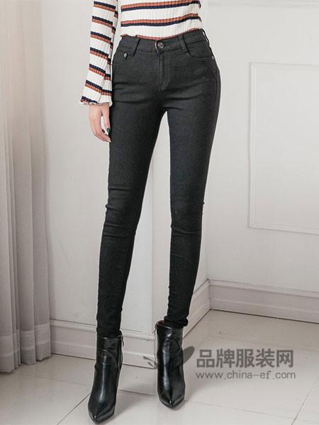 韩国TB2女装2017秋冬修身牛仔裤女高腰铅笔裤秋冬弹力长裤