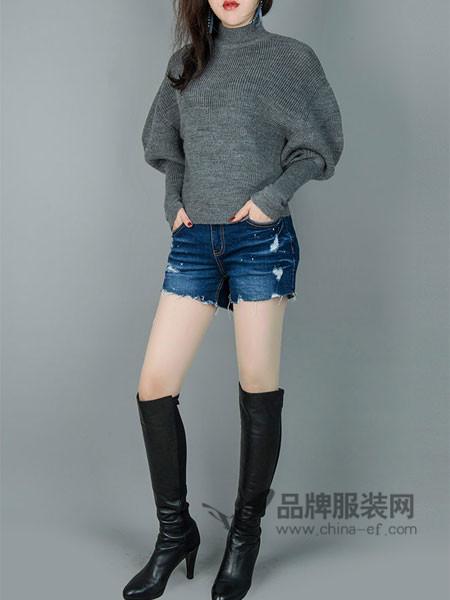 韩国TB2女装2017秋冬毛衣蝙蝠袖高领打底衫短款上衣