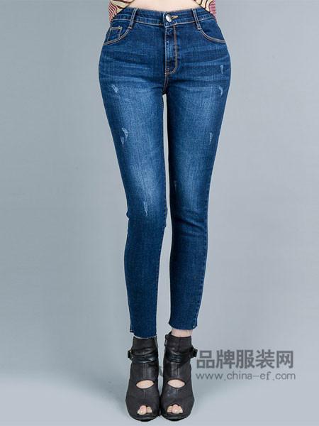 韩国TB2女装2017秋冬新款抓纹牛仔裤磨白小脚裤修身铅笔裤