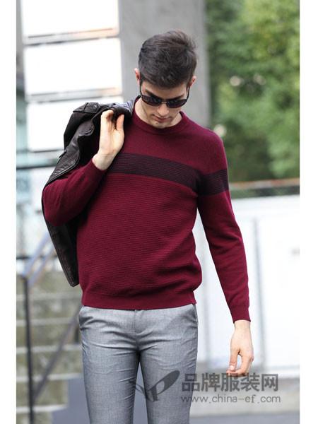 卓西龙男装2017秋冬男士加厚圆领套头针织衫时尚撞色条纹毛衣