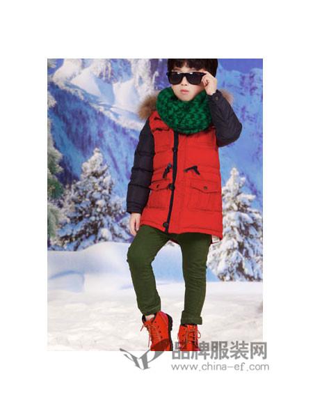时尚世家童装时尚休闲中长拼接男羽绒服