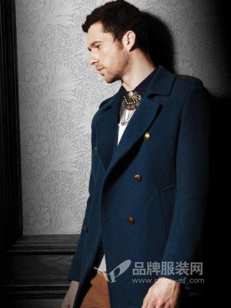 玛卡西尼男装时尚商务呢子西装领外套