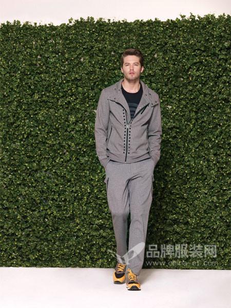 罗宾汉男装时尚韩版修身斜拉链翻领外套