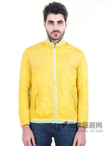 曼西尔奴MNSERNO男装2018春黄色外套青年时尚修身薄款夹克衫