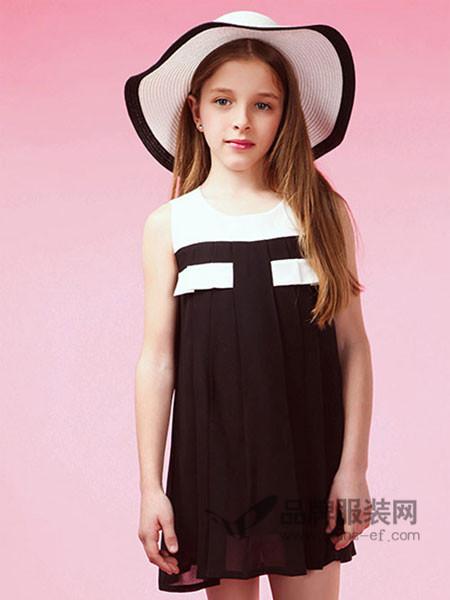 摩登小姐童装时尚优雅拼接雪纺无袖连衣裙