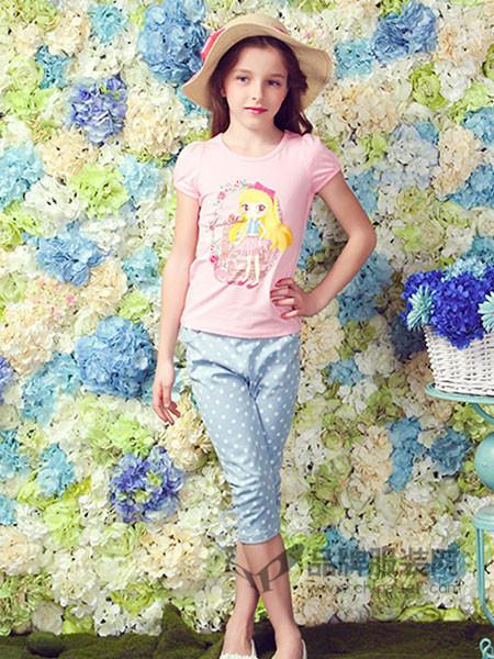 摩登小姐童装时尚可爱卡通短袖T恤