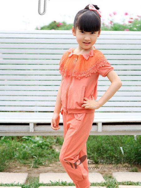 摩登小姐童装韩式可爱蕾丝拼接短袖套装