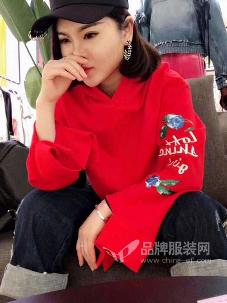 LOFT SHINE女装2018春时尚优雅喇叭袖红色卫衣