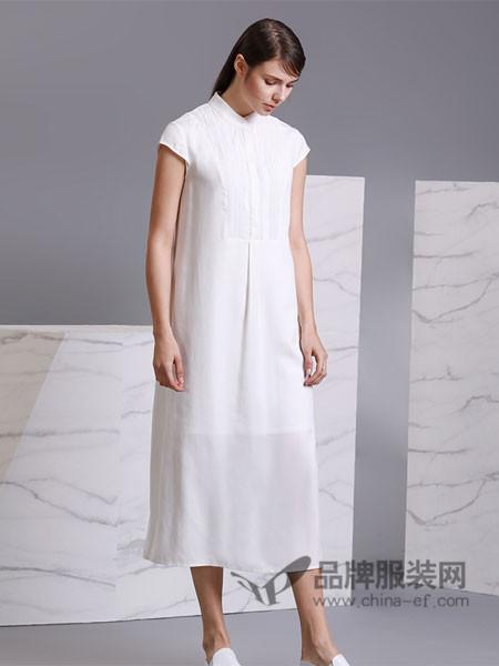 名师路女装2018春夏白色文艺复古连衣裙宽松短袖打底拼接A字长裙