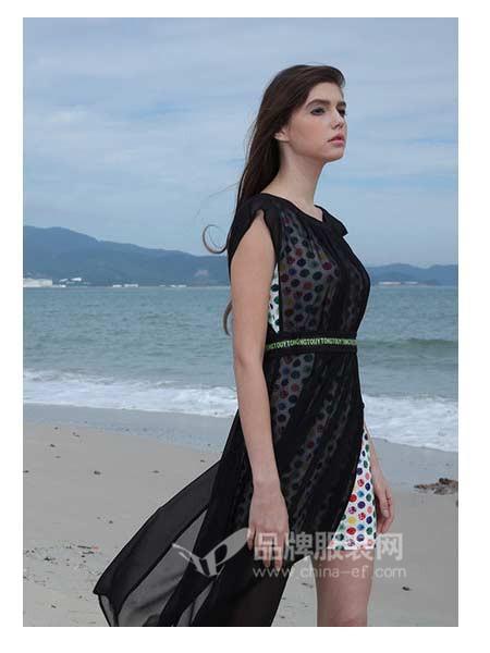 娇雪芳菲女装2018春夏显瘦网纱性感V领沙滩裙