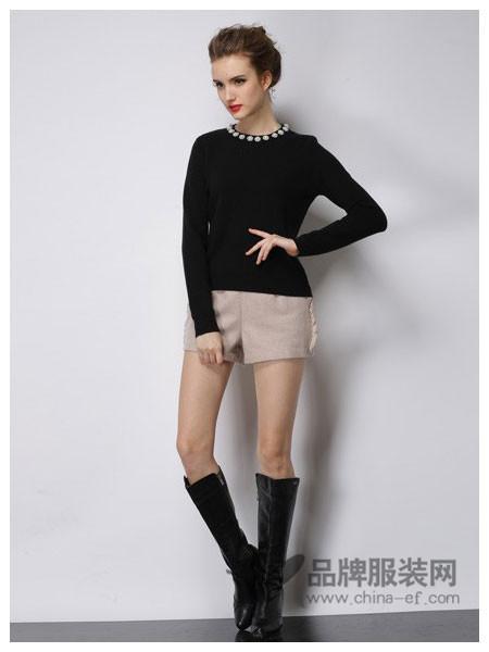 Asmpin女装2017秋冬修身钉珠长袖打底套头圆领针织衫