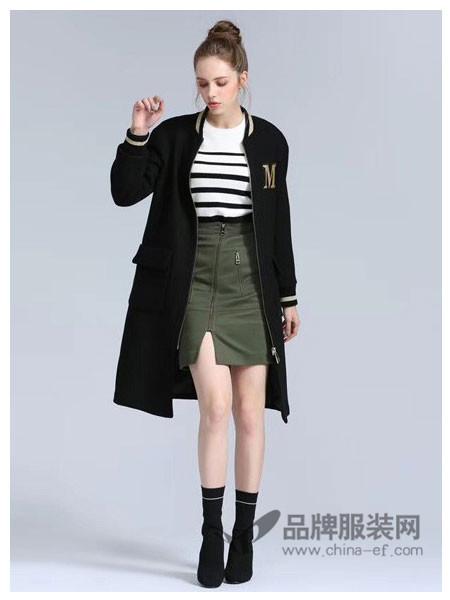 Asmpin女装2017秋冬时尚字母运动中长棒球服外套
