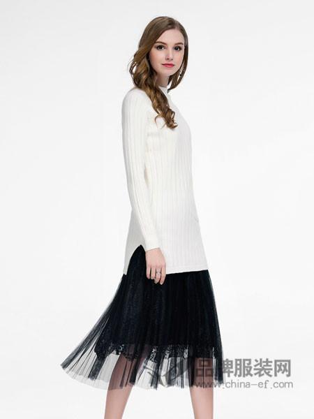 卡尔诺女装2018春毛衣粗线织花纹宽松百搭长袖纯色毛打底衫