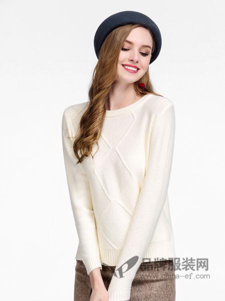 卡尔诺女装2018春毛衣粗线织花纹宽松百搭长袖纯色秋冬毛打底衫