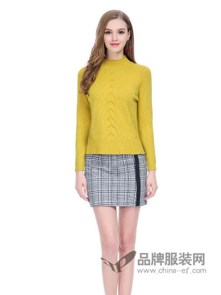 卡尔诺女装2018春套头半高领宽松毛衣短款打底衫