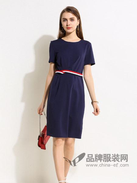 浩洋国际女装2018春拼接系带修身显瘦短袖纯色中长款职业连衣裙