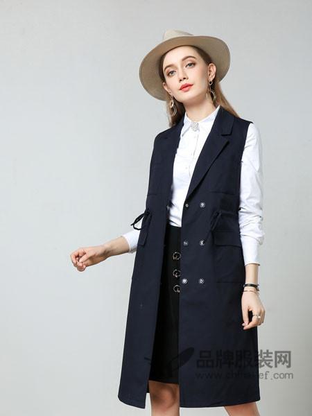 浩洋国际女装2018春长款V领金属扣外套韩版西装马甲背心