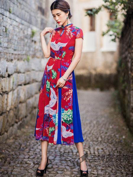 惊意女装2018春中国风中式旗袍裙短袖祺袍连衣裙