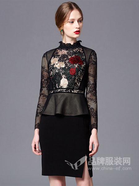 古色女装2018春夏雕栏玉砌黑色刺绣荷叶领连衣裙
