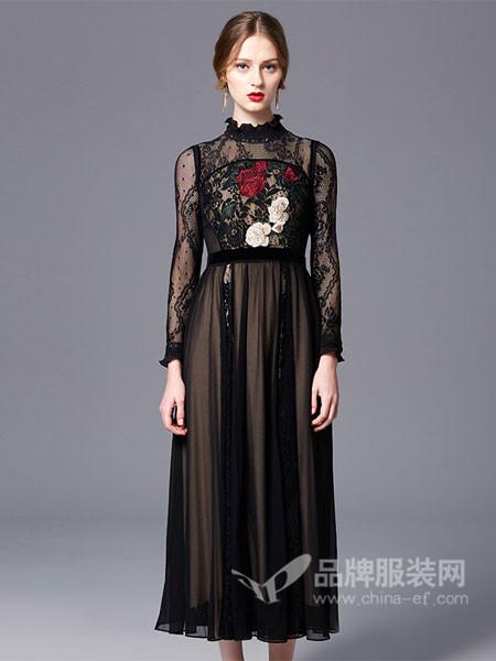 古色女装2018春夏雕栏玉砌雪纺蕾丝刺绣花连衣裙
