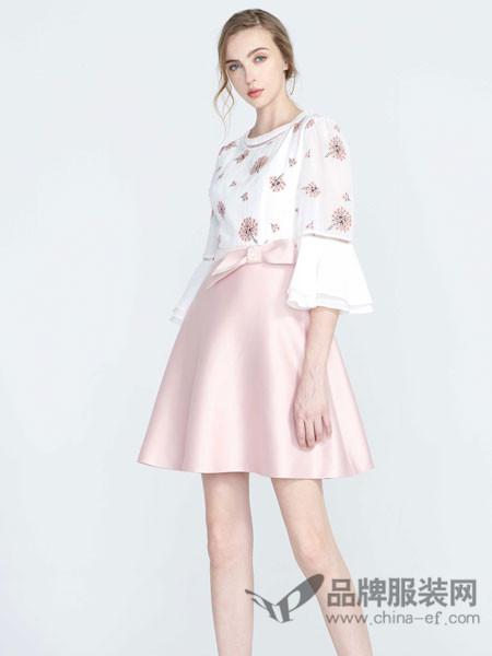 保时霓女装2018春显瘦粉色绣花中长袖系腰带短裙