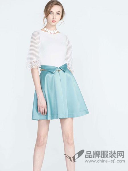 保时霓女装2018春显瘦白色圆领袖口透明裙摆两件套短裙