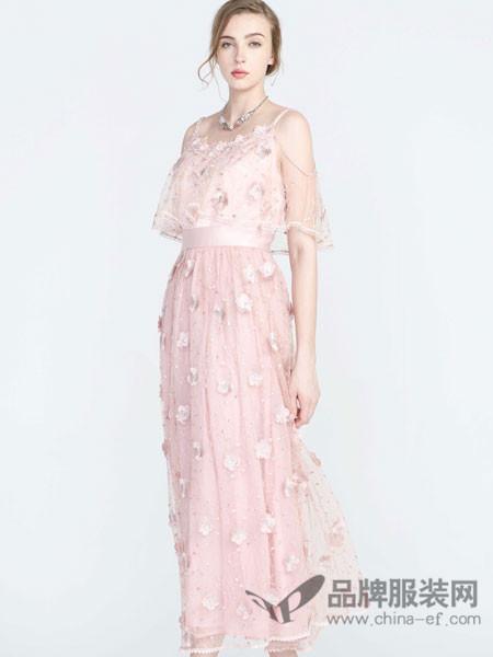 保时霓女装2018春休闲蕾丝粉红系腰带长裙