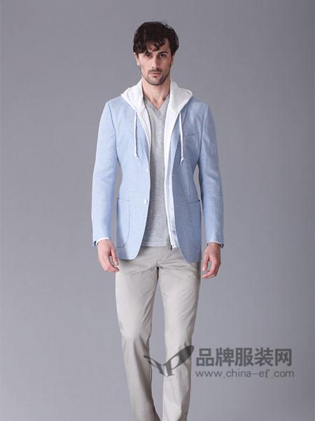 顺美男装毛麻蓝色男士时尚商务休闲西服上衣