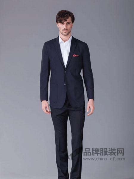 顺美男装深蓝色格子男士时尚商务休闲单西无里衬无垫肩小西服