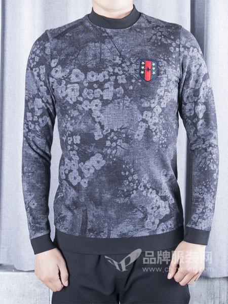 CARNMEISON男装时尚休闲印章撞色保暖打底T恤