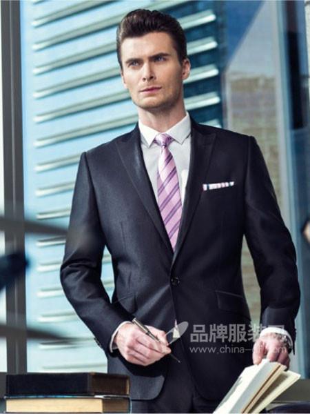 胜龙男装藏青色职业正装意大利羊毛商务修身西服套装