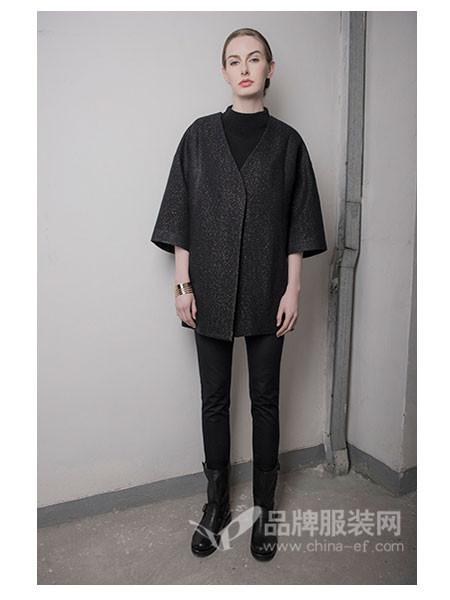�v�M二千女装2017秋冬时尚优雅毛呢V领外套