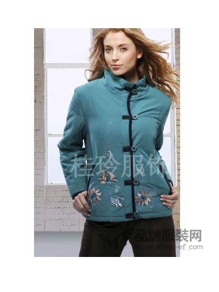 桂玲女装中式领保暖绣花棉衣外套