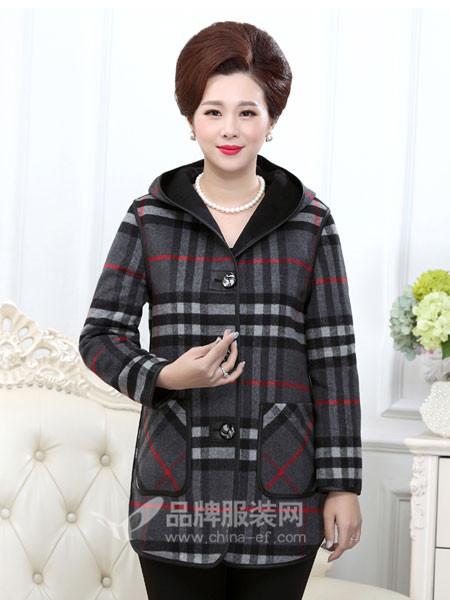 桂玲女装2017秋冬新款老人连衣帽羊毛风衣妈妈装外套