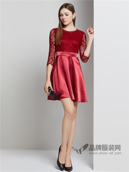 粉蓝女装2018春钉珠圆领小礼服年会红色蕾丝连衣裙