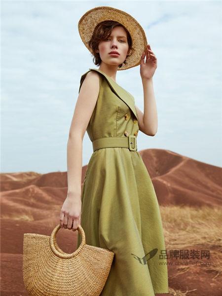 卡蔓女装2018春夏版显瘦名媛气质不规则领子收腰衬衫连衣裙