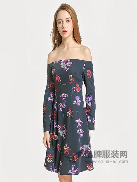 囍瑞小花裙女装2018春夏一字肩优雅时尚印花连衣裙