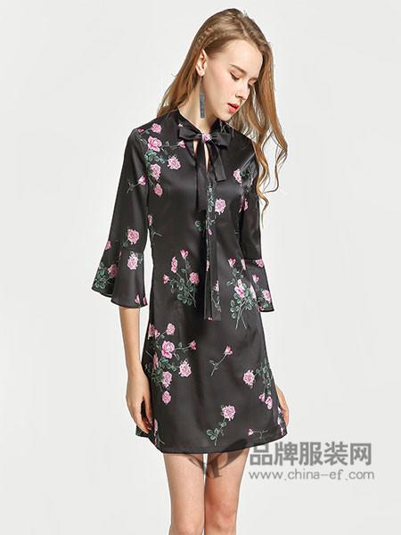 �秩鹦』ㄈ古�装2018春夏荷叶边真丝修身显瘦七分袖连衣裙