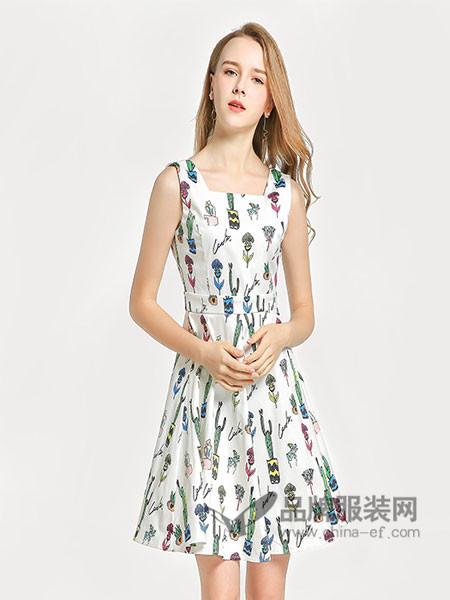 �秩鹦』ㄈ古�装2018春夏卡通简约板型印花收腰显瘦连衣裙