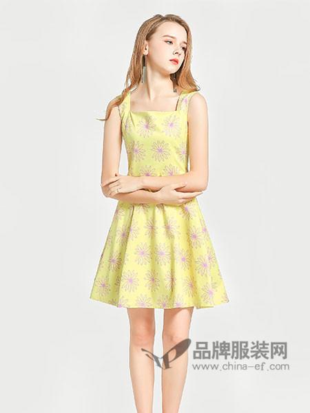�秩鹦』ㄈ古�装2018春夏柠檬黄大v露背少女浪漫印花连衣裙