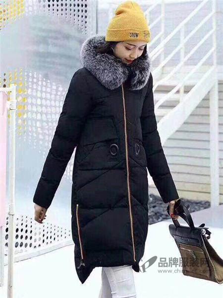 敢享优品女装2017秋冬棉服女中长款加厚修身大毛领冬装棉衣