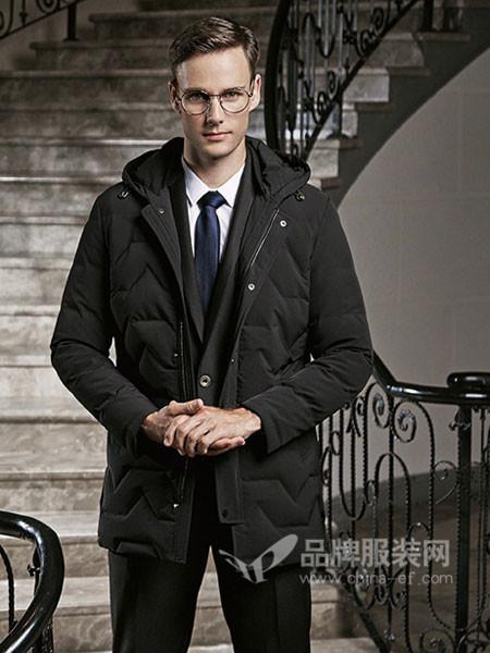 古士旗男装2017秋冬时尚休闲保暖中长棉衣外套