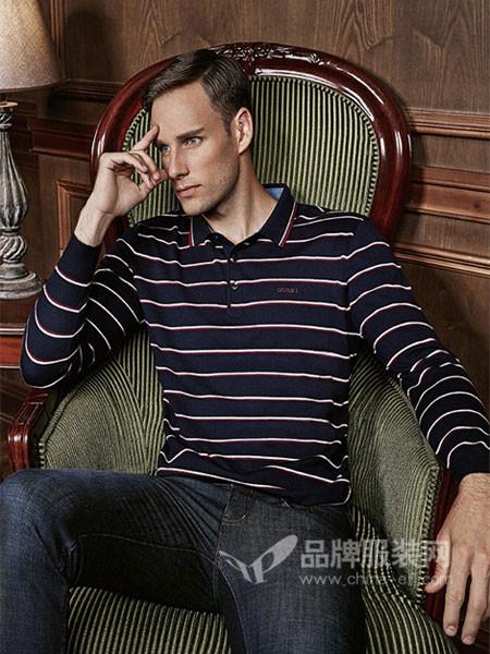 古士旗男装2017秋冬时尚商务条纹方领长袖T恤