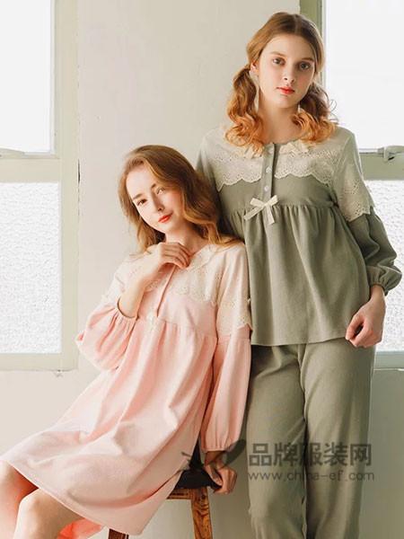 恋袜坊女装时尚简约优雅长袖睡衣套装