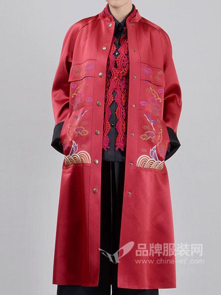 有�o女装2018春夏气质复古重工刺绣中长款风衣外套