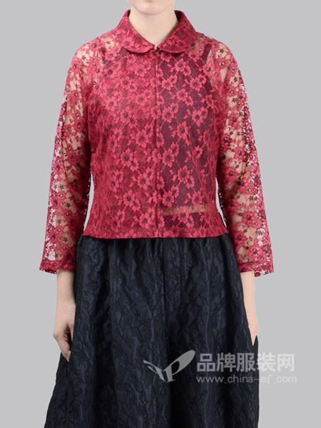 有�o女装2018春夏复古中式蕾丝镂空上衣