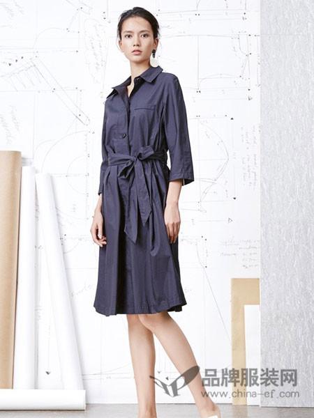 HALOHAPPY女装2018春夏纯色系腰带裙